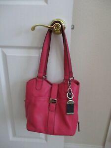 TIGNANELLO Pink Pebbled Leather Shoulder Purse Snap Closure