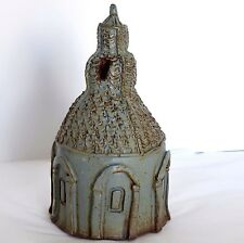 "Brutalist Abstract Art Pottery Steeple Tower 10.5"" Incised Stoneware Green House"