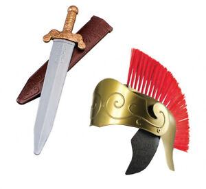 ROMAN GOLDEN HELMET WITH SWORD WARRIOR GLADIATOR HISTORIC BOOK DAY FANCY DRESS
