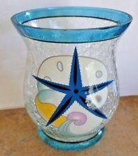 GANZ Clear-Multi Crackle Glass SEASHELLS Tea Light- Votive Candle Holder NWT