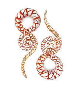 Pair Red and Clear Curls and Loops Glass Hangers Gauges
