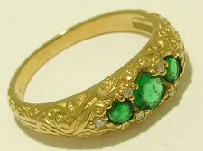 R162- Genuine 9K Gold NATURAL Emerald & DIAMOND Three-stone Triology Ring size M