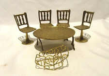 Brass Doll House Furniture Toys Four Chairs  Table