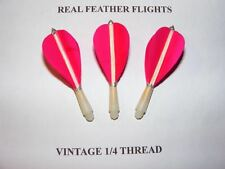 1/4 INCH THREAD SHORT  PINK  HAND MADE FEATHER FLIGHTS  OLD STYLE DARTS