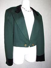ESCADA Green Wool w/Black Velvet Cashmere Cropped Jacket Blazer SZ 38 NEW