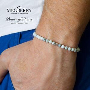 MEGBERRY® Mens Beaded Bracelet White Howlite & 925 Solid Silver | Custom Sizing