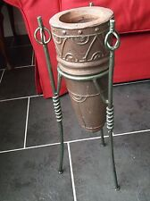 Brown Thick ?Teracotta ?Vase ?Jardinaire on Green metal stand