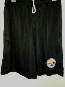 0724-1 Mens PITTSBURGH STEELERS Polyester Jersey SHORTS Embroidered BLACK New