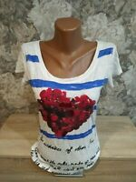 Desigual women's t-shirt size S white blue red color