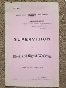 Victorian Railways Supervision of Block & Signal Working 16/8/1909