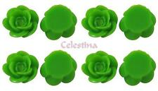 15 x Rose Resin Flat Back Cabochon Flowers 18mm x 8mm - Lime Green- CAB10
