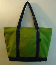 LL Bean Medium Size Nylon Boat & Tote Bag Olive Green with Navy Blue
