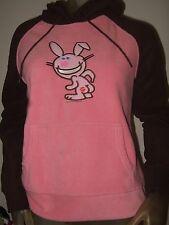 New Juniors Medium It's Happy Bunny Butt Kiss Pullover Pink Brown Fleece Hoodie