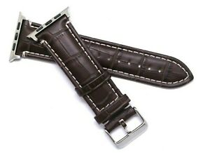Brown Crocodile Grain Leather Watch Band Silver Buckle For Apple iWatch 42/44mm
