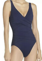 NWT Tommy Bahama Pearl Wrap Front Mare Navy One-Piece Swimsuit Women's Size 10