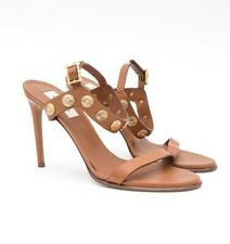 VALENTINO Gryphon Brown Gold Metal Coin VE Studded Leather Sandal Heels 9.5/39.5