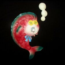 Vintage Colorful Py Fish Wall Plaque w Rhinestone Eye for Mermaid Bath Decor