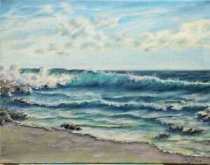 """Art18""""/14""""oil painting, seascape, nature,realistic ocean waves, landscape"""
