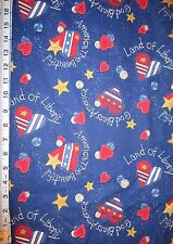Patriotic God Bless America ~ Land of Liberty ~ Cotton Fabric Sold by ½ Yard