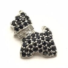 Sterling Silver Round Black Onyx Cluster CZ Collar Dog Pet Yorkie Petite Pendant
