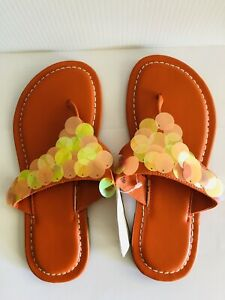 Orange Big Sequined Thong Womens Sandals Slippers Size 6 Faux Leather Materials