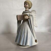 Schmid Angel With Accordion Music Box Rotating Figurine Vintage Silent Night