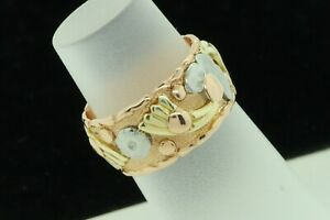 Art Nouveau (ca. 1935) 14K Rose Gold Floral Band w/ Yellow White Accents (4 1/2)