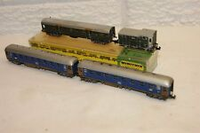 N gauge REPAINTED 4x Arnold & Trix Minitrix Coach Blue Green BOXED & REPAINTED