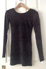 TOPSHOP BLACK GLITTER MINI LONG SLEEVE DRESS .... SIZE 8