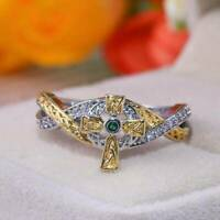 Women 925 Silver Rings Emerald Wedding Ring Fashion Christmas Gift Jewelry NEW