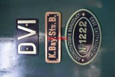 PHOTO  NUMBERPLATE AND WORKSPLATE OF ROYAL BAVARIAN STATE RAILWAYS CLASS DVI (DR