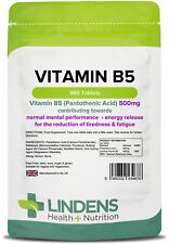 Lindens Vitamin B-5 500mg 1-a-day 360 tablets Pantothenic Acid B5 Brain Energy