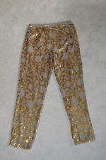 Hoss Intropia Khaki Green / Gold Sequinned Side Zip Trousers Womens EU 40 UK 12