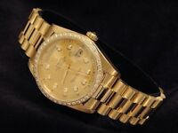 Mens Rolex Day-Date President Solid 18k Gold Watch Diamond Dial 1ct Bezel 18038