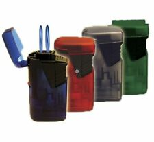 4 Pack Double Torch Cigar Lighter Windproof Flame Butane Smooth Rubber Refilable