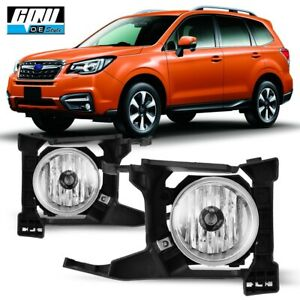 17-18 Fit Subaru Forester Clear Lens Pair OE Fog Light Lamp+Wiring+Switch Kit