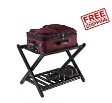 Folding Luggage Rack Wood Shelf Espresso Suitcase Stand Holder Travel Hotel Bag