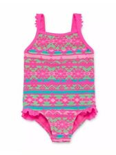 NWT Girls 1pc Okie Dokie Pink Aztec Swimsuit UPF 50+ Sz 3T