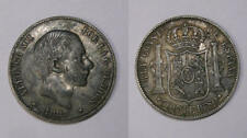1883 PHILIPPINE SILVER 50 CENTAVOS aUNC. TOUGH INV#347-17