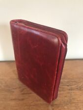 Red Franklin Covey FullGrain Leather Planner Binder Classic 7 rings Patina