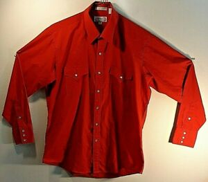 Sheplers Men's Long Sleeve Red Button Up Pearl Snap Shirt Size: 161/2 - 35