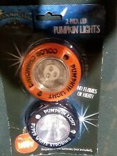 4 SPOOK CITY NO FLAME LED STROBE & COLOR CHANGIN BATTERY OPERATED PUMPKIN LIGHTS
