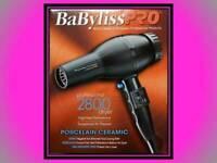 BABYLISS PRO PORCELAIN CERAMIC 2000 WATT 6 HEAT / SPEED HAIR BLOW DRYER # BP2800