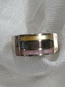Sterling silver ring size 5.5 pink yellow green