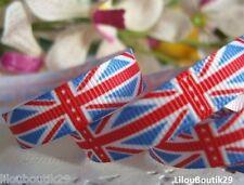 Lot de 5 m Ruban gros grain drapeau anglais UK 10 mm