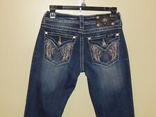 MISS ME Dark Wash Jeans Bling Studs Angel Wings Bootcut Flap Pockets sz 25L FAB