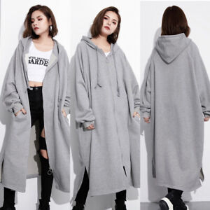 UK Women Long Oversize Hoodies Ladies Sweatshirt Hooded Sweater Long Coat Jacket