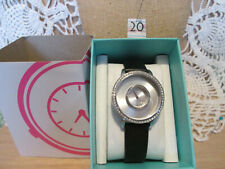 (lot20) Origami Owl #LK5003 Silver Signature Locket Watch with Black Genuine Lea