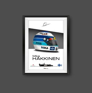 Mika Hakkinen 1999 McLaren F1 Helmet Print - Scuderia GP