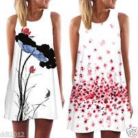 Summer Women's Boho Long Tops Evening Party Beach Short Mini Dress Sundress